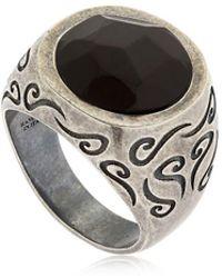 Marco Dal Maso - Ara Engraved Silver Ring W/ Onyx - Lyst