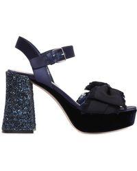 Miu Miu - 100mm Satin Sandals W/ Glittered Heel - Lyst