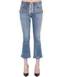 Unravel - Lace-up Flared Cotton Denim Jeans - Lyst