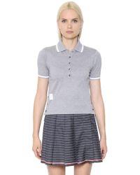Thom Browne - Cotton Piqué Polo Shirt - Lyst