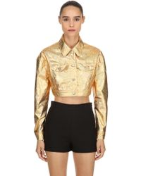 Jeremy Scott - Golden Metallic Coated Cropped Jacket - Lyst