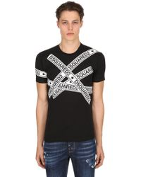 DSquared² - Logo Tape Printed Cotton Jersey T-shirt - Lyst