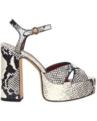 Marc Jacobs | 120mm Debbie Printed Leather Sandals | Lyst