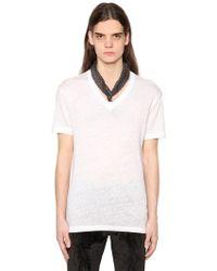 John Varvatos - V Neck Linen Jersey T-shirt - Lyst