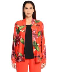 Marina Rinaldi - Floral Printed Jersey Bomber Jacket - Lyst