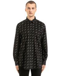 Balenciaga - Logo Printed Cotton Poplin Shirt - Lyst