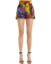 Versace | High Waisted Palms Printed Satin Shorts | Lyst