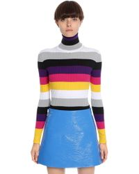 Courreges   Striped Cotton Blend Turtleneck Sweater   Lyst
