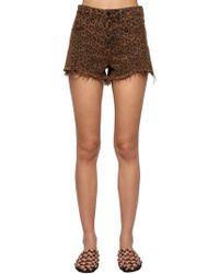 Alexander Wang - Leopard Printed Cotton Denim Shorts - Lyst