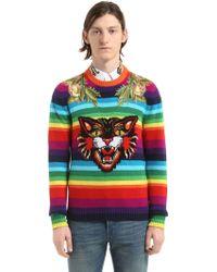 Gucci - Cat Striped Wool Sweater - Lyst