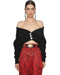 Alessandra Rich - Mohair Blend Knit Cropped Cardigan - Lyst