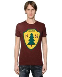 DSquared² - Pine Tree Printed Cotton Jersey T-shirt - Lyst