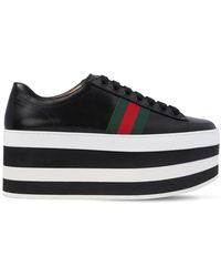 7724f7b74f9 Gucci Peggy Metallic Leather Platform Sneakers in Metallic - Lyst