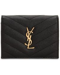 Saint Laurent - Monogram Grained Leather Card Holder - Lyst