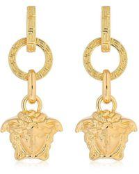 Versace - Small Hoops Medusa Charm Earrings - Lyst