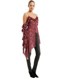 Magda Butrym - Floral Print Polka Dot Silk Jacquard Top - Lyst