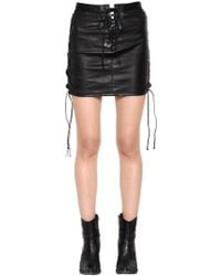 Unravel - Lace-up Leather Mini Skirt - Lyst