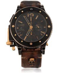 U-Boat - Skull-Embossed Leather Watch - Lyst