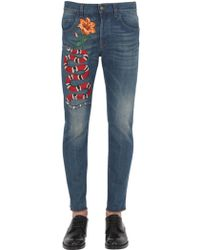 Gucci - 17.5cm Snake Stone Washed Denim Jeans - Lyst