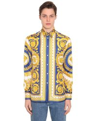 Versace - Seidenhemd Mit Baroquedruck - Lyst