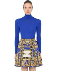 Versace - Wool Rib Knit Turtleneck Sweater - Lyst