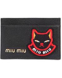 Miu Miu - Cat Patch Leather Card Holder - Lyst
