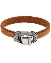 Alcozer & J | Silver Car Charm & Leather Bracelet | Lyst