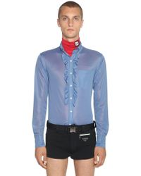 e9124fbd6444e Prada - Jerseyhemd Mit Rüschen - Lyst