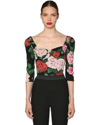 Dolce & Gabbana - Crop Top In Seta Charmeuse - Lyst