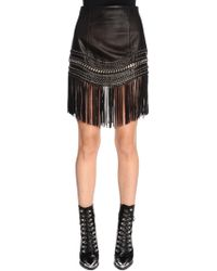 Balmain - Fringed Leather Mini Skirt W/ Chain - Lyst