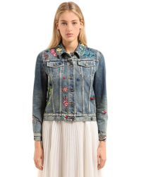 Gucci - Embroidered Patches Cotton Denim Jacket - Lyst