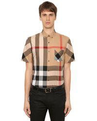 Burberry - Macro Check Twill Short Sleeve Shirt - Lyst