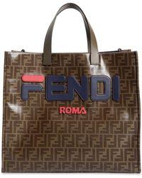 3cff72b014bb Lyst - Fendi Mania Brown And White Large Logo Print Tote Bag in ...