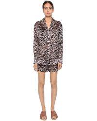 Olivia Von Halle - Leopard Print Silk Satin Pyjama Set - Lyst