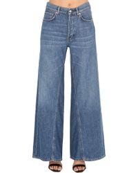 Ganni - Wide Leg Cotton Denim Jeans - Lyst