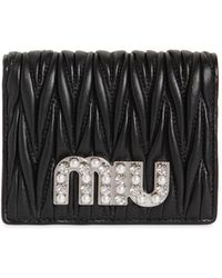 Miu Miu - Embellished Miu Quilted Leather Wallet - Lyst