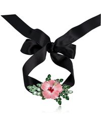 DSquared² - Satin Choker W/ Flower Detail - Lyst