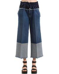 Sonia Rykiel Cropped Denim Jeans W/ Boxer Waist - Blue