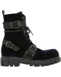FRU.IT - 30mm Buckle Velvet & Leather Ankle Boots - Lyst
