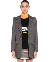 Fendi - Logo Printed Oversized Jersey Jacket - Lyst