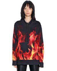 Gareth Pugh - Flame Print Hooded Cotton Sweatshirt - Lyst