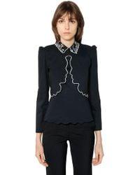Vivetta - Face Embroidered Cotton Poplin Shirt - Lyst