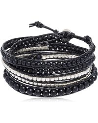 Colana - Onyx & Gun Metal Beads Wrap Bracelet - Lyst