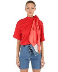Y. Project - T-shirt In Jersey Di Cotone Con Sciarpa - Lyst
