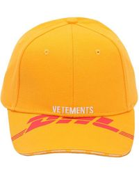 Vetements - + Dhl Printed And Embroidered Cotton-twill Baseball Cap - Lyst