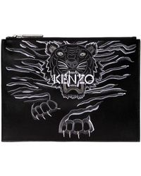 KENZO - Tiger Embroidered Leather Pouch - Lyst
