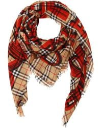 Burberry - Graffiti Check Print Silk & Wool Scarf - Lyst