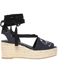 Roger Vivier - 65mm Embroidered Denim Lace-up Wedges - Lyst