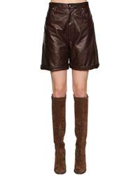 Etro - High Waisted Leather Shorts - Lyst