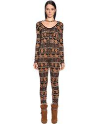 Etro - Wool Blend Knit Jacquard Jumpsuit - Lyst